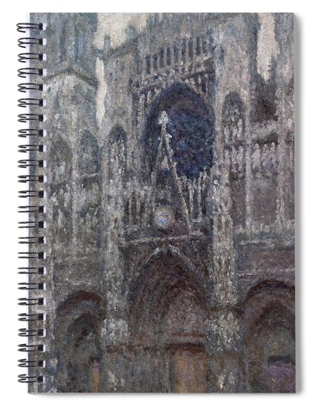 The Cathedral In Rouen, The Portal, Grey Weather Spiral Notebook