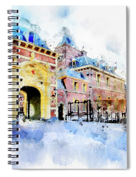 Town Life In Watercolor Style Spiral Notebook