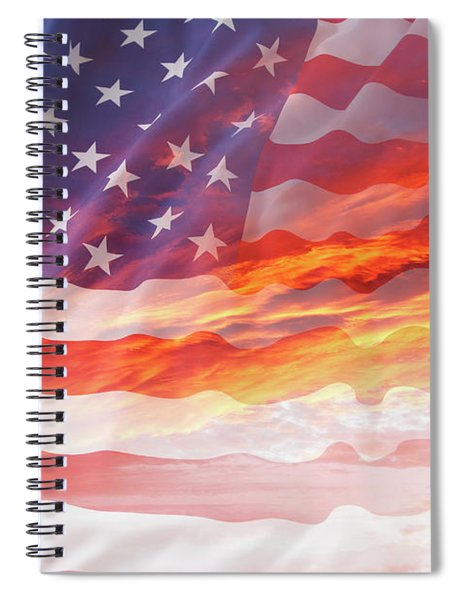 Usa Flag In Sky 1 Spiral Notebook
