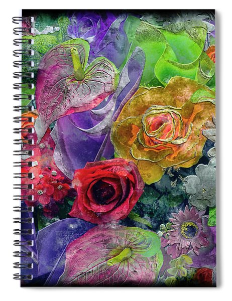 21a Abstract Floral Painting Digital Expressionism Spiral Notebook