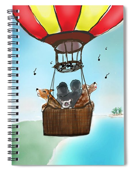 3 Dogs Singing In A Hot Air Balloon Spiral Notebook