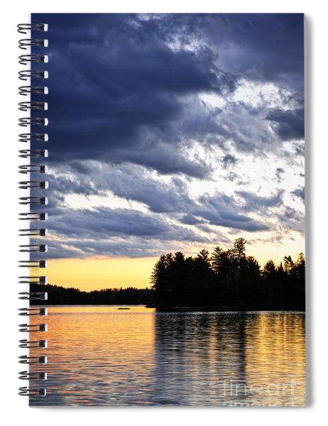 Dramatic Sunset At Lake Spiral Notebook