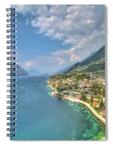 view over the Lake Garda with the charming village Malcesine Spiral Notebook