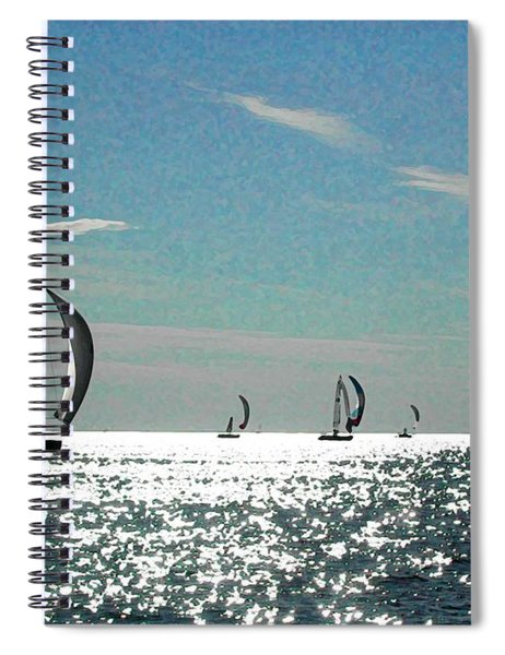 4 Boats On The Horizon Spiral Notebook