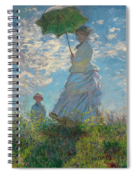 Woman With A Parasol - Madame Monet And Her Son Spiral Notebook