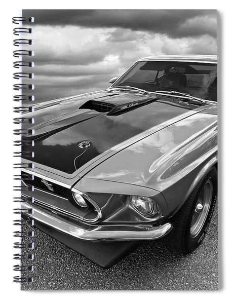 428 Cobra Jet Mach1 Ford Mustang 1969 In Black And White Spiral Notebook