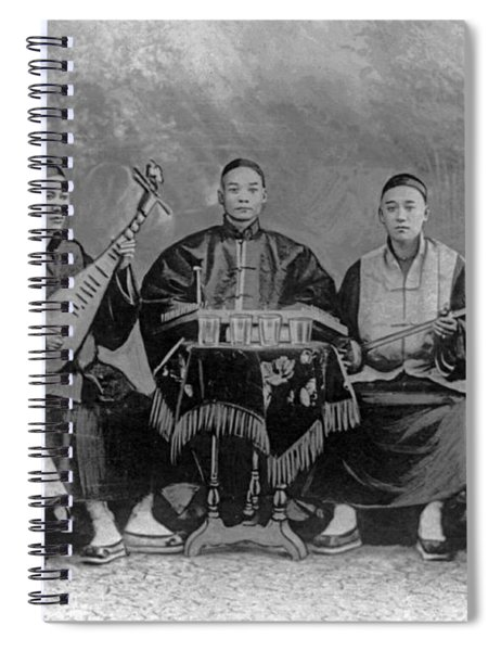 5 Chinese Musicians Playing Flute, 2-stringed Fiddle, 3-stringed Psaltery, Drums, And Small Bells Spiral Notebook