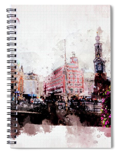 City Life In Watercolor Style  Spiral Notebook