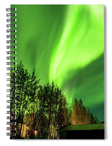 Northern Lights, Aurora Borealis At Kantishna Lodge In Denali National Park Spiral Notebook