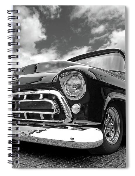 57 Stepside Chevy In Black And White Spiral Notebook