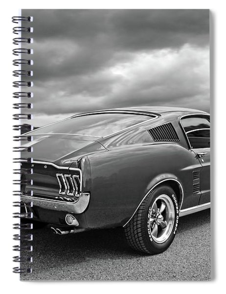 67 Fastback Mustang In Black And White Spiral Notebook