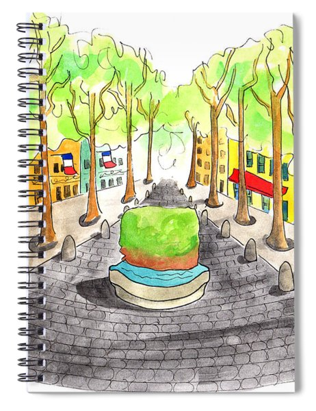 Cours Mirabeau With Trees And Fountain  Spiral Notebook