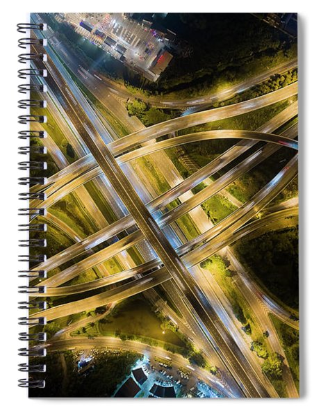 Aerial View Of Traffic Jams At Nonthaburi Intersection In The Evening, Bangkok. Spiral Notebook by Pradeep Raja PRINTS