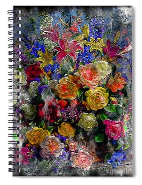 7a Abstract Floral Painting Digital Expressionism Spiral Notebook