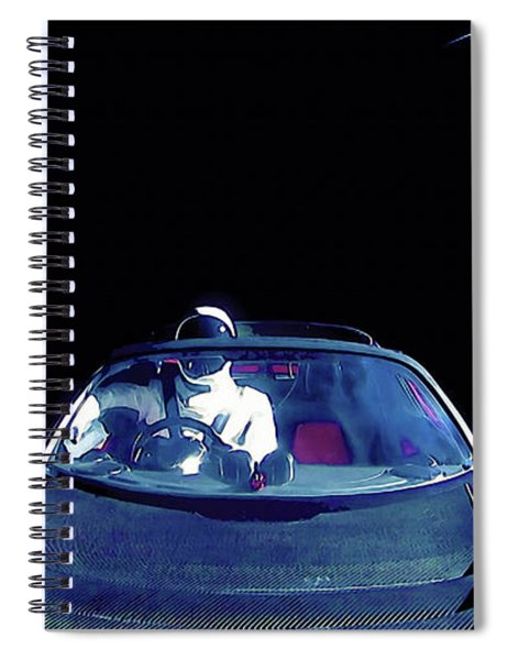 Starman In Tesla Roadster With Planet Earth Traveling In The Space Spiral Notebook