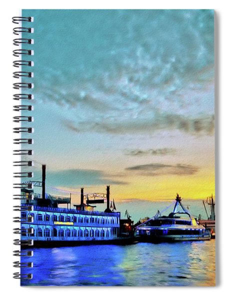 View From The Water Around The River Alster And Elbe, Waterfront And Warehouse District In Hamburg Spiral Notebook