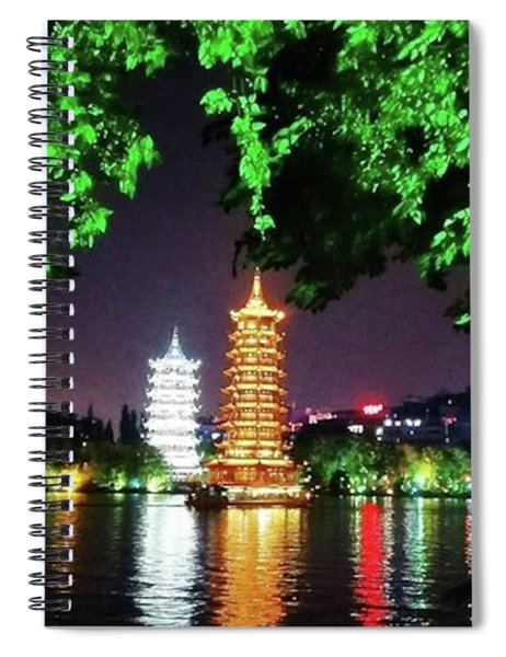 Sun And Moon Pagoda Green Leaves Spiral Notebook