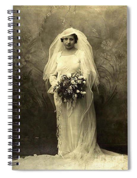 A Beautiful Vintage Photo Of Coloured Colored Lady In Her Wedding Dress Spiral Notebook