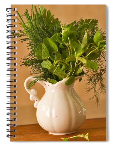 A Bouquet Of Fresh Herbs In A Tiny Jug Spiral Notebook