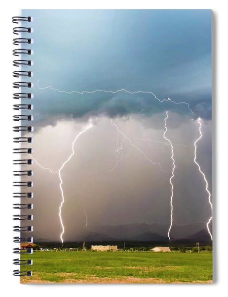 Four Lightning Bolts In The Mountains, Palominas, Arizona Spiral Notebook