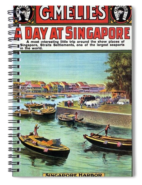 A Day At Singapore - Singapore Harbor - Retro Travel Poster - Vintage Poster Spiral Notebook
