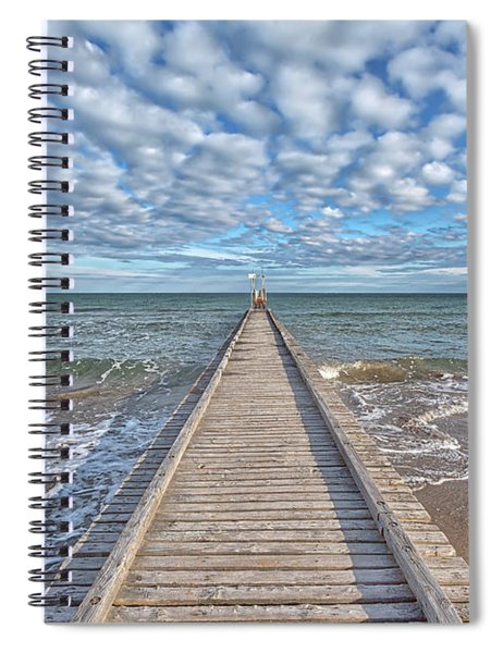 A Dock Leads To The Mediterranean Sea At The Beach Of Lido Die Jesolo, Italy Spiral Notebook