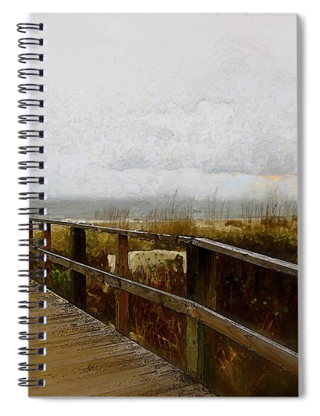 Spiral Notebook featuring the digital art A Foggy Day by Gina Harrison