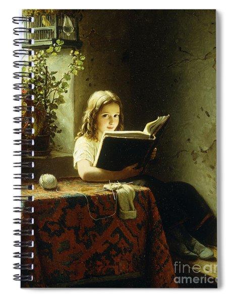 A Girl Reading Spiral Notebook