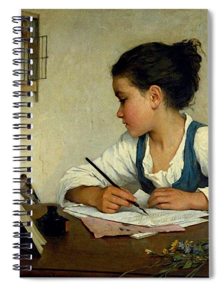 A Girl Writing. The Pet Goldfinch Spiral Notebook