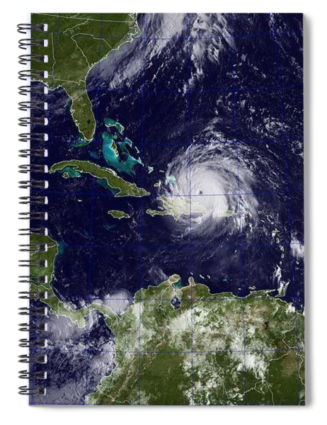 A Goes Satellite Shows Hurricane Irma, Center, And Hurricane Jose, Right, In The Atlantic Ocean, And Spiral Notebook