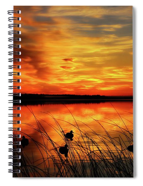 A Golden Sunrise Duck Hunt Spiral Notebook