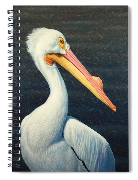 Spiral Notebook featuring the painting A Great White American Pelican by James W Johnson
