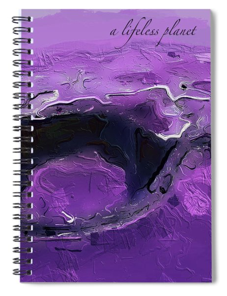 Spiral Notebook featuring the digital art A Lifeless Planet Purple by ISAW Company