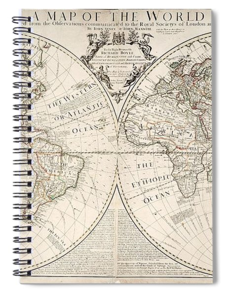 A Map Of The World Spiral Notebook