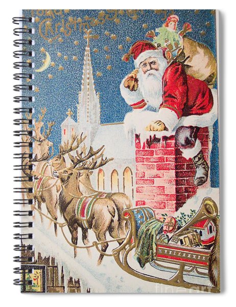 A Merry Christmas Vintage Greetings From Santa Claus And His Raindeer Spiral Notebook