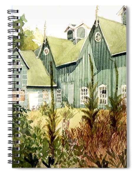 Watercolor Of An Old Wooden Barn Painted Green With Silo In The Sun Spiral Notebook