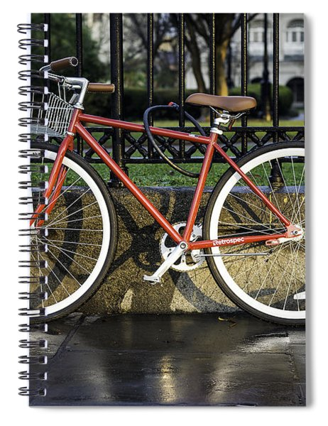 A Red Bicycle Near Jackson Square, New Orleans, Louisian Spiral Notebook