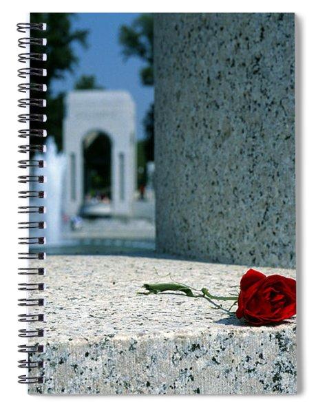 A Rose Memento At The World War II Memorial In Washington Dc Spiral Notebook