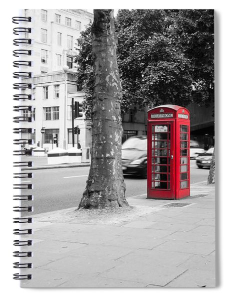 A Single Red Telephone Box On The Street Bw Spiral Notebook