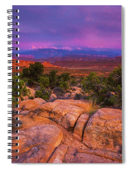 Spiral Notebook featuring the photograph A Sunset Over Arches by John De Bord