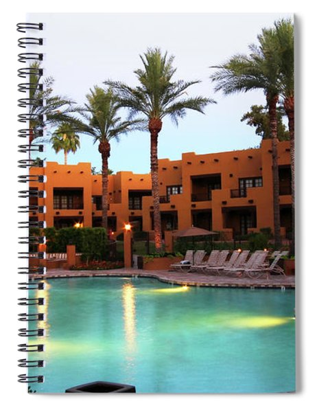 A Swimming Pool At A Resort Hotel At Twilight Spiral Notebook