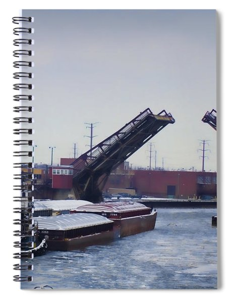 A Tug Boat Pushing A Barge Out To The Lake Spiral Notebook
