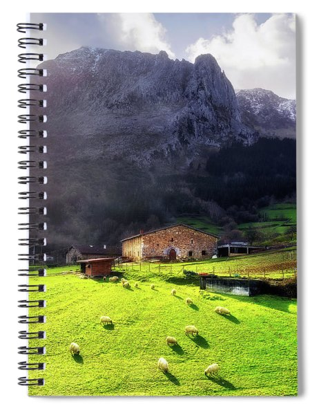 A Typical Basque Country Farmhouse With Sheep Spiral Notebook