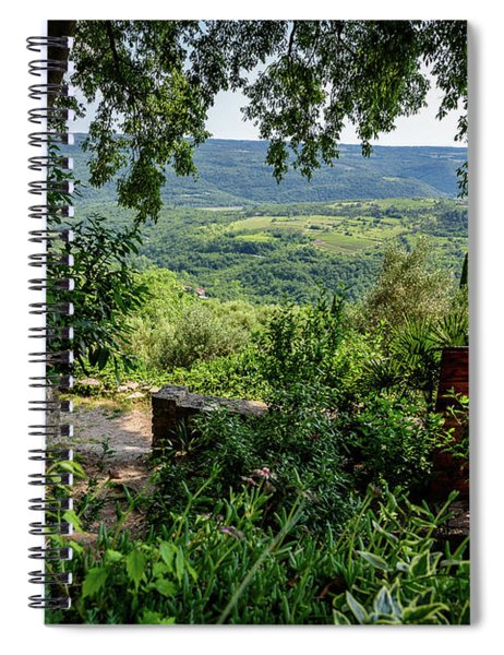 A View From Groznjan Of The Istrian Hill Town Countryside, Istria, Croatia Spiral Notebook