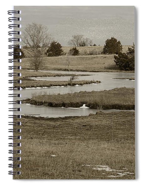 A Winding Creek In Winter As Geese Fly Overhead Spiral Notebook