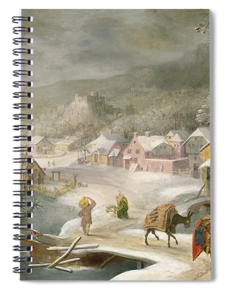 A Winter Landscape With Travellers On A Path Spiral Notebook