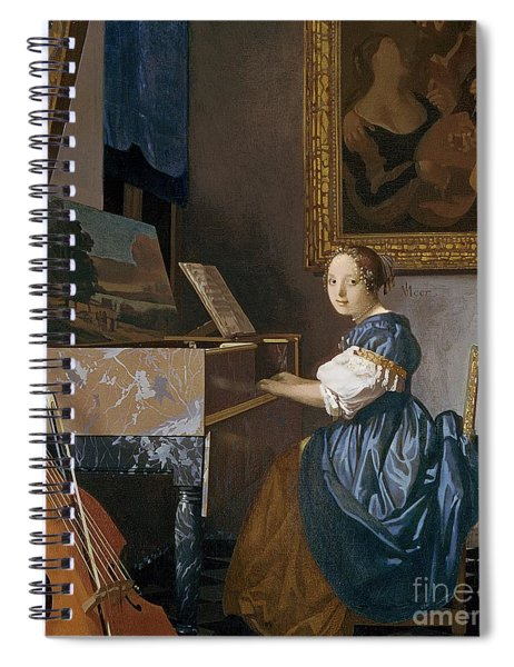 A Young Lady Seated At A Virginal Spiral Notebook