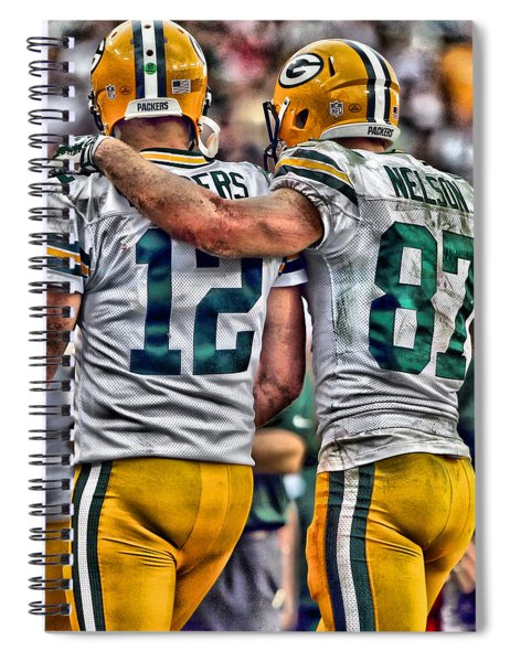 Aaron Rodgers Jordy Nelson Green Bay Packers Art Spiral Notebook