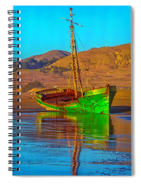 Abandoned Green Boat Spiral Notebook