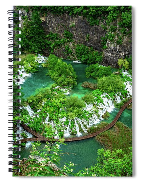 Above The Paths And Waterfalls At Plitvice Lakes National Park, Croatia Spiral Notebook